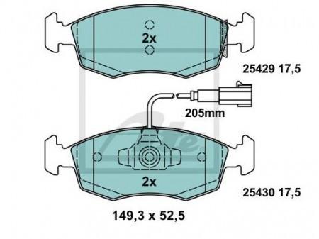 ATE セラミック ブレーキ パッド フロント フィアット 500 ツインエアー用 13047072882