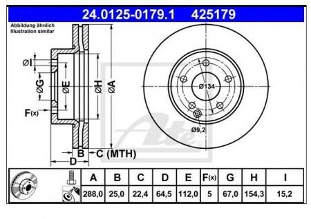 【要 適合確認】ATE ディスクローター フロント メルセデスベンツ Cクラス(W204/S204) 204249用 A425179